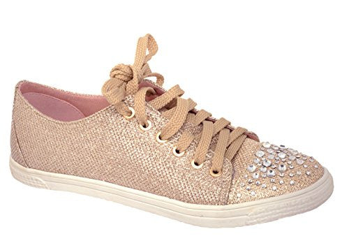 Your Party Shoes Lexi Nude Glitter Fashion Sneakers