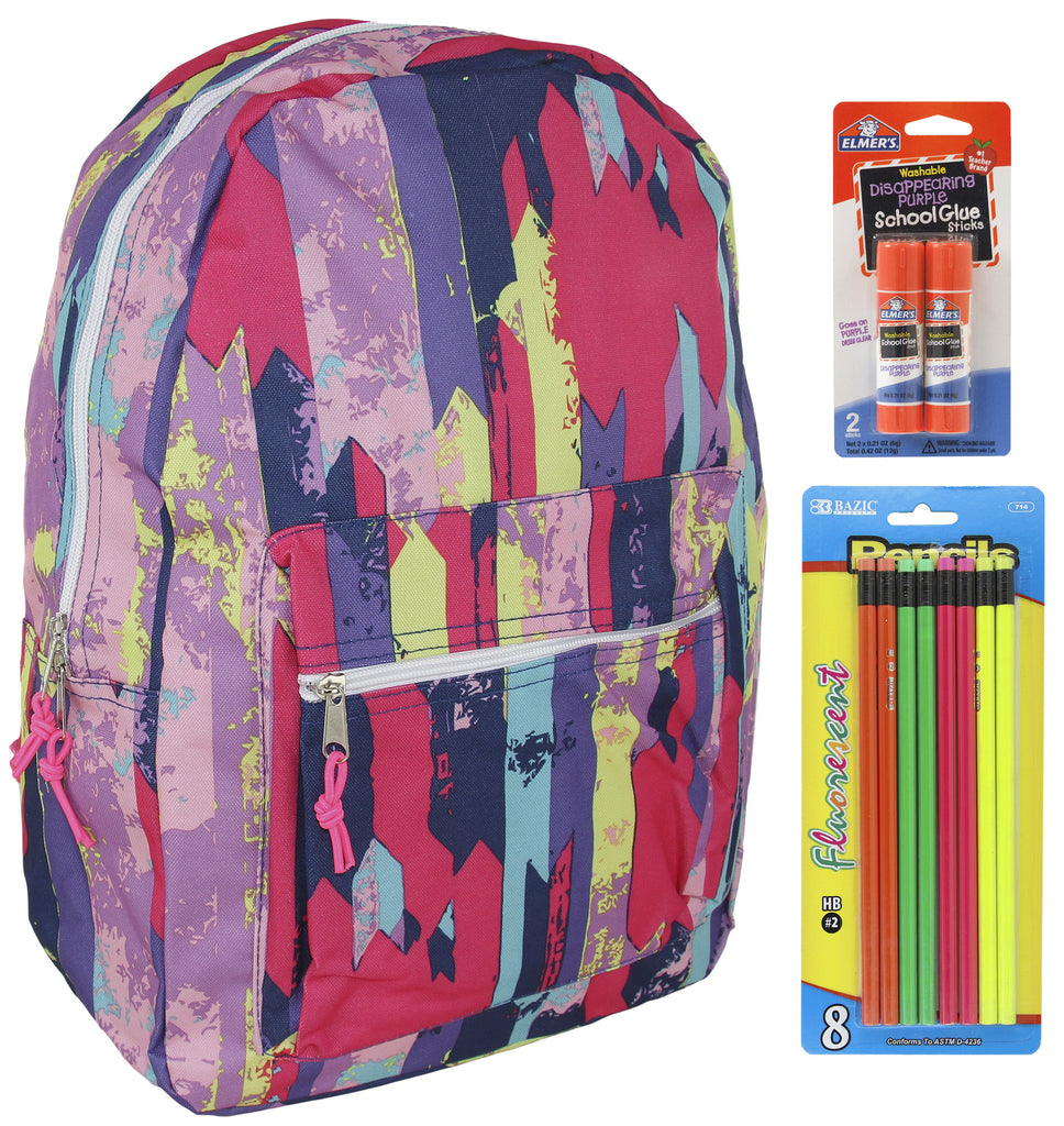 Multi Stripes Backpack School Bags for Girls + Free School Supplies for Kids