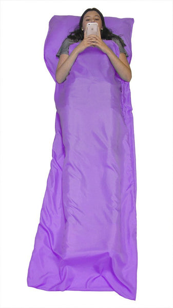 Teenagers or Campers Sleepovers Sleeping Bag Liner for Travel Camping Party Gift- Purple