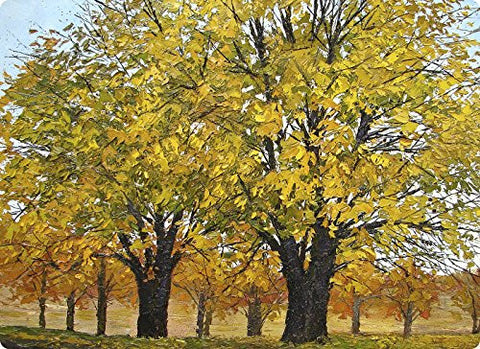 Cutting Board Decorative Fine Art Yellow Trees Tempered Glass