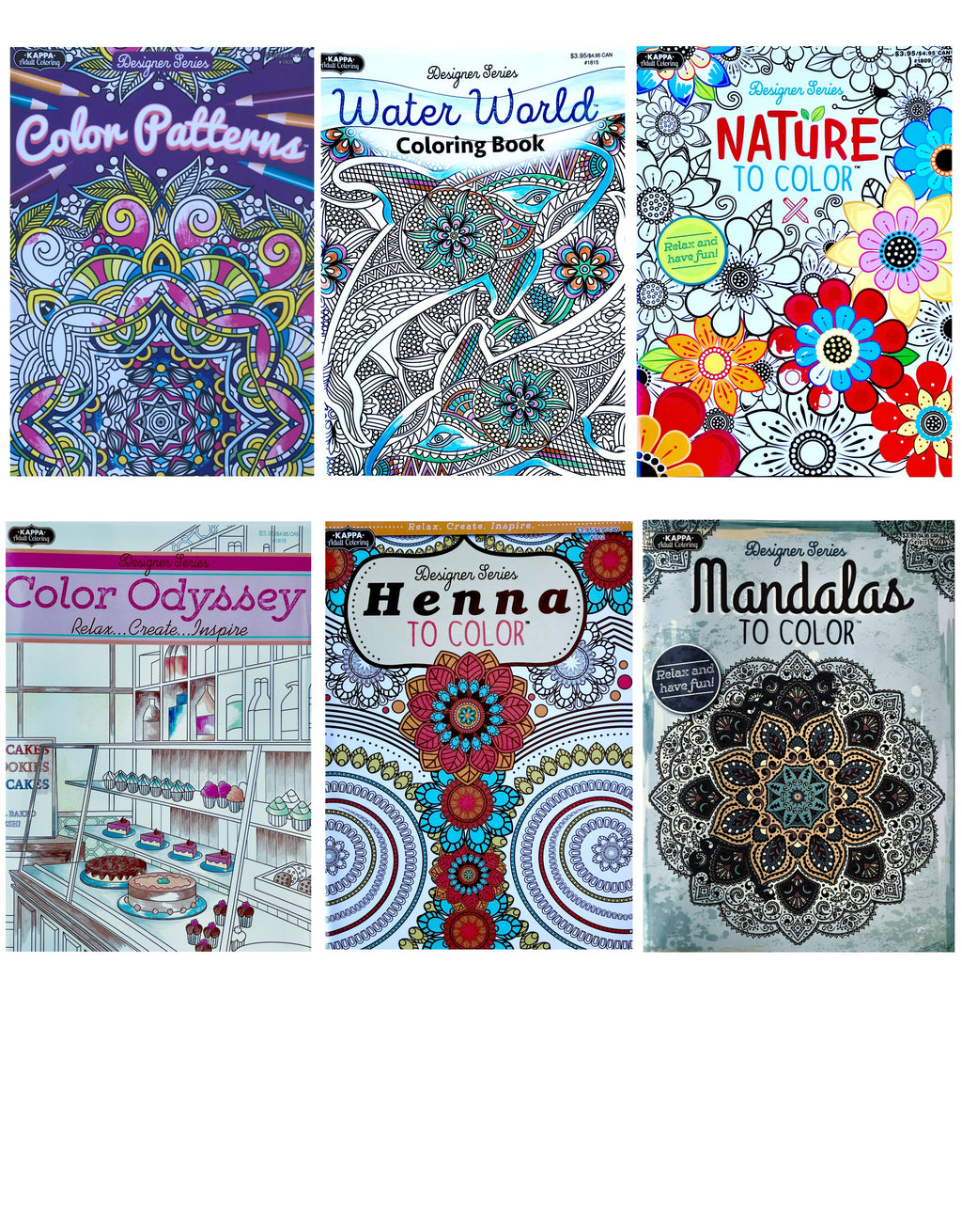 Adult Coloring Books Anti Stress - Set of 6 Books 32 Designs & Set of 24 Colored Pencils