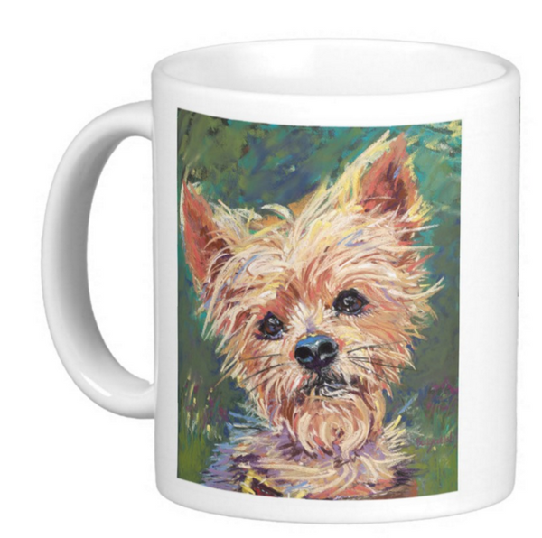 Art Coffee Mug Set - Yorkie Dog Painting - 11 oz Cup