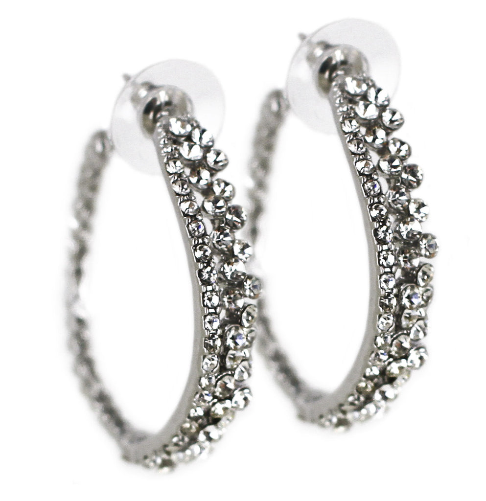 Clear Crystal Embellished Hoop Earrings