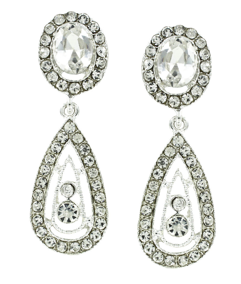 Crystal Channel Set Earrings with Drop for Prom or Pageant