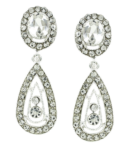 Crystal Channel Set Earrings with Drop
