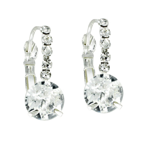 Crystal Half Hoop Drop Cubic Zirconia Earrings
