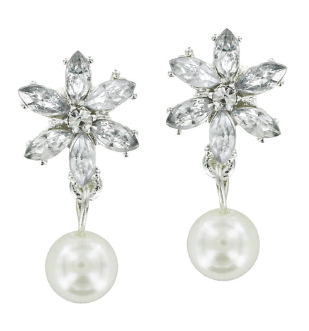 Clear Cubic Zirconia Earrings with Pearl Drop