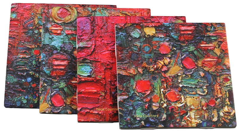 Coasters in Ceramic Tile Abstract Paintings - 4 Drinks Coaster Set Decorative