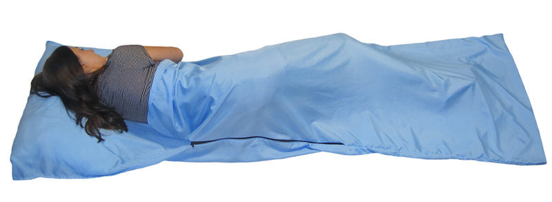 Sleeping Bag Liner Hostel Sleep Sack for Travel Camping Backpacking Sleepovers Lighweight Sheet - Blue