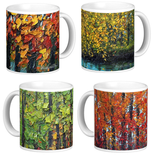 Art Coffee Mug Set of 4 Colorful Painted Trees, 11 oz