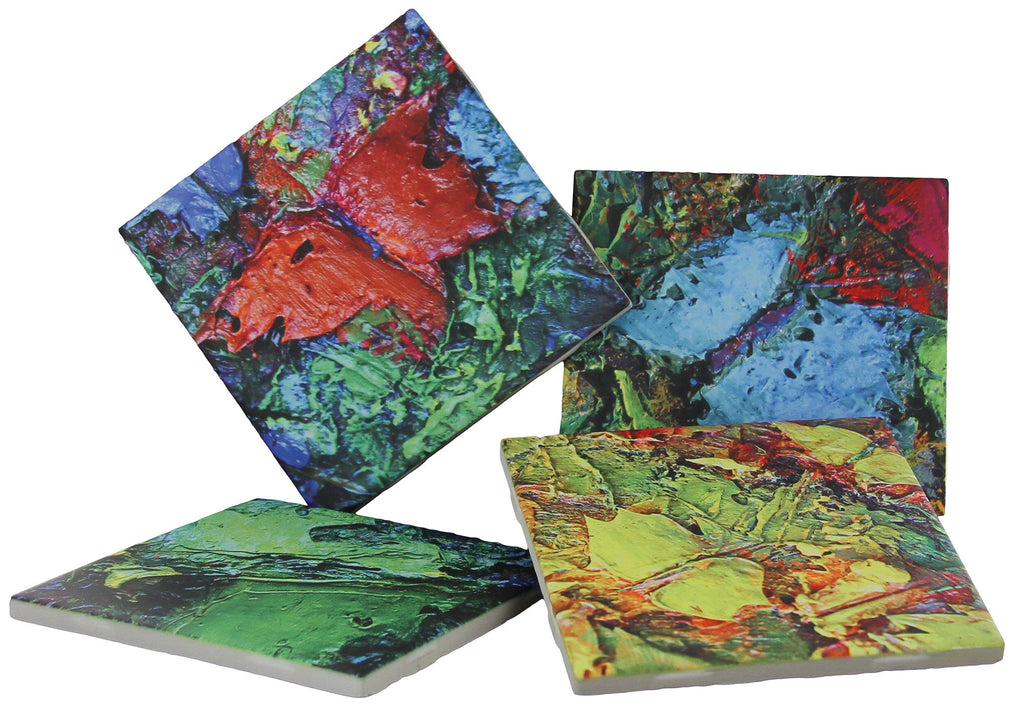 Coasters Ceramic Tile with Butterfly Paintings - 4 Drinks Coaster Decorative Set