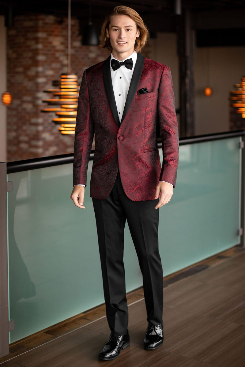 Tuxedo Rental in Red for Wedding, Prom or Formal Occassion - Apple Red Aries Paisley Tux