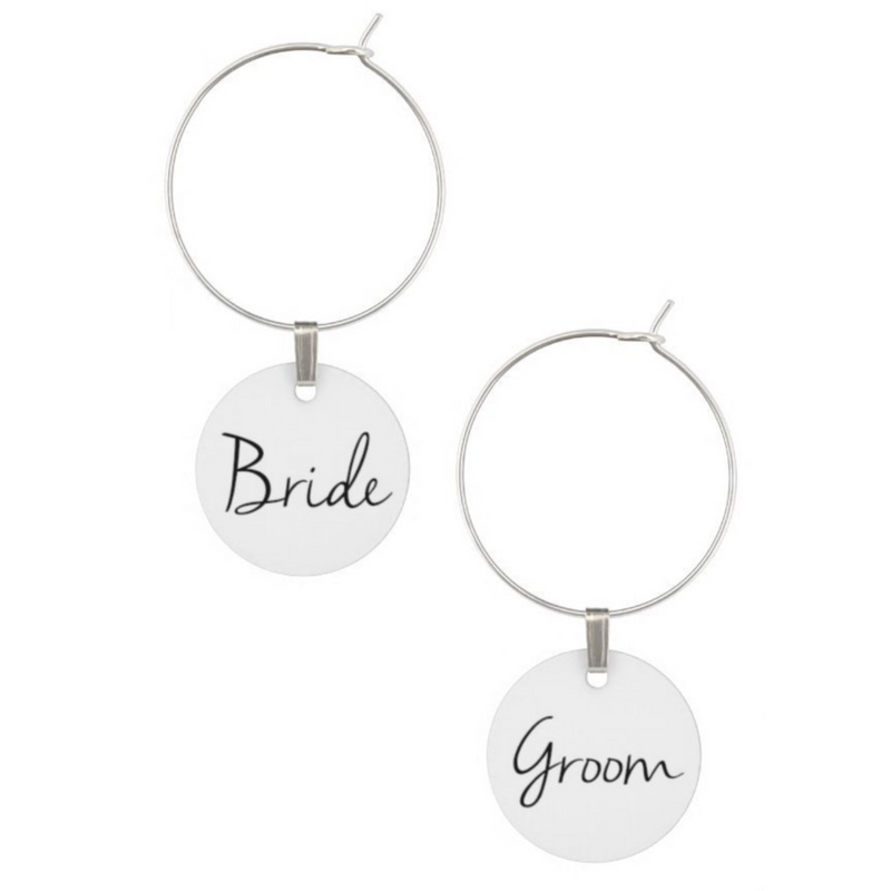 Wedding Wine Glass Charms Bride and Groom Set