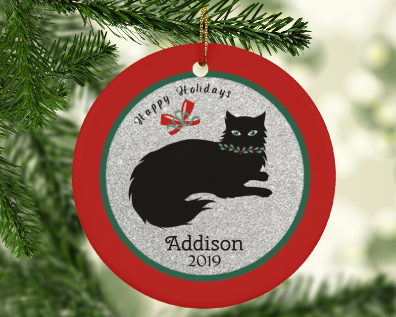 Cat Lovers Holiday Personalized Christmas Ornament with Name and Date