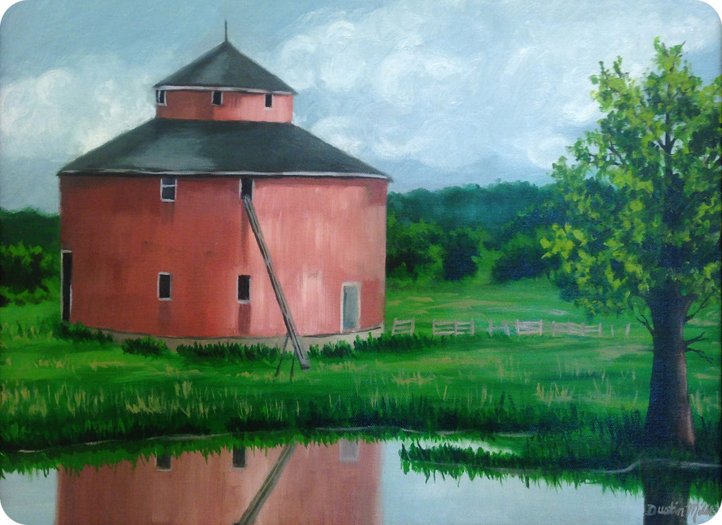 "Glass Cutting Board Fine Art Red Barn Painting - 8"" x 11"""