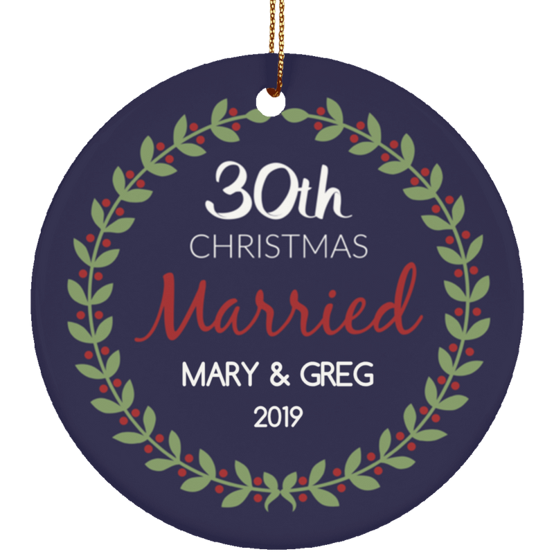 30th Wedding Anniversary Christmas Ornament Navy Blue