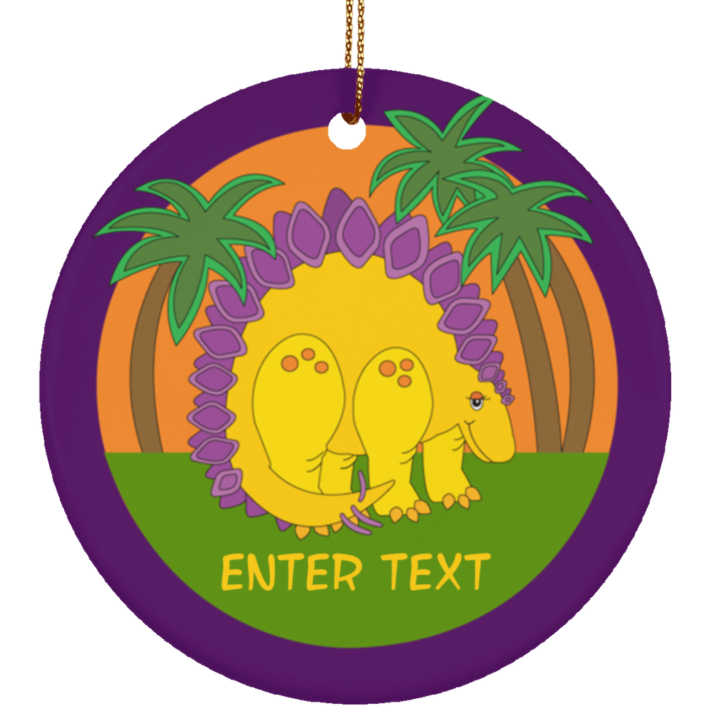 Christmas Baby Dinosaur Circle Ornament for Kids Children - Personalized