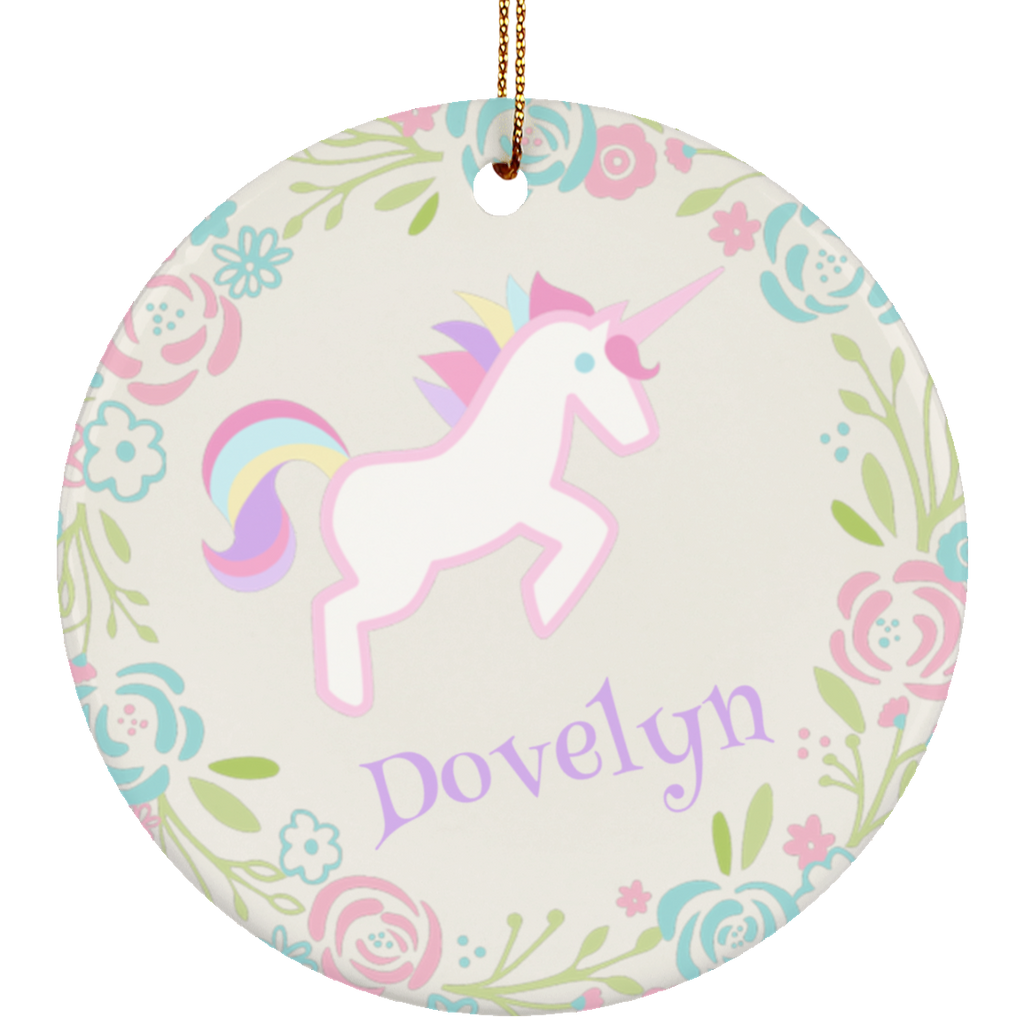 Personalized Unicorn Pastel Custom Ornament with Name