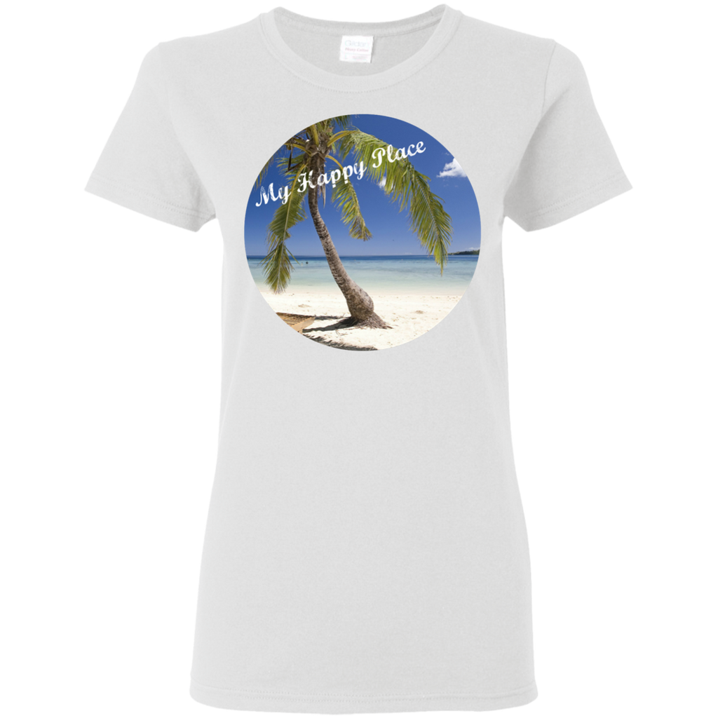 Ladies White T-Shirt - Beach Scene - My Happy Place Saying