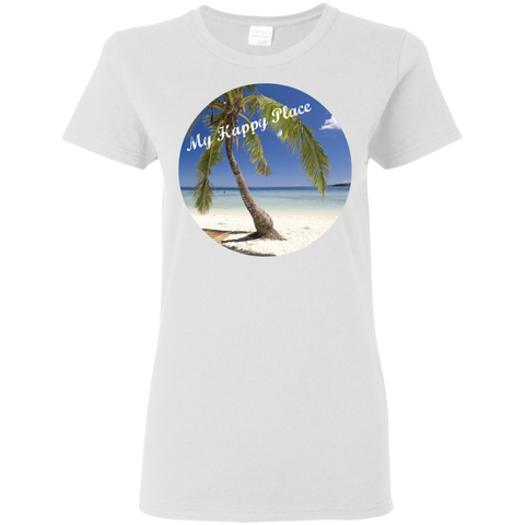 Ladies White T-Shirt - Beach Scene with Saying