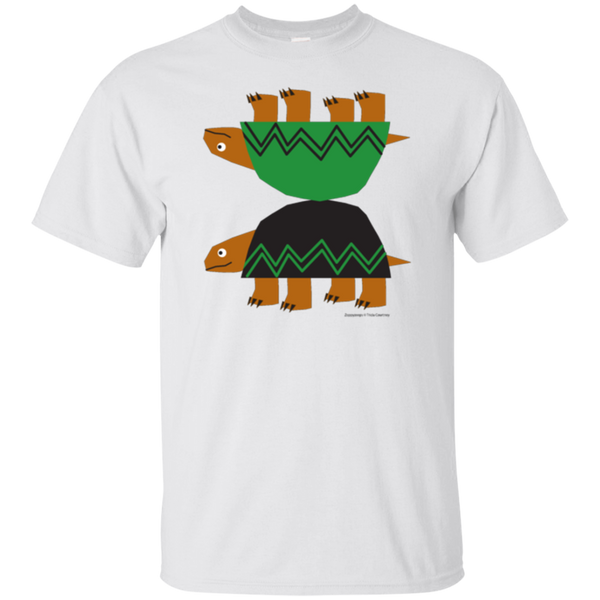 Youth Cotton T-Shirt with Turtles in Green Grey White
