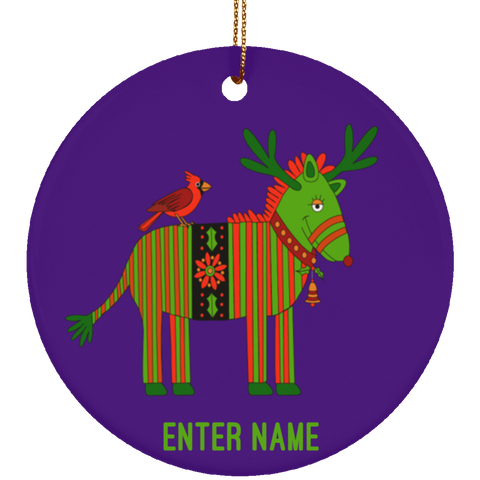 Christmas Zebra with Bird Ceramic Circle Ornament - Personalized