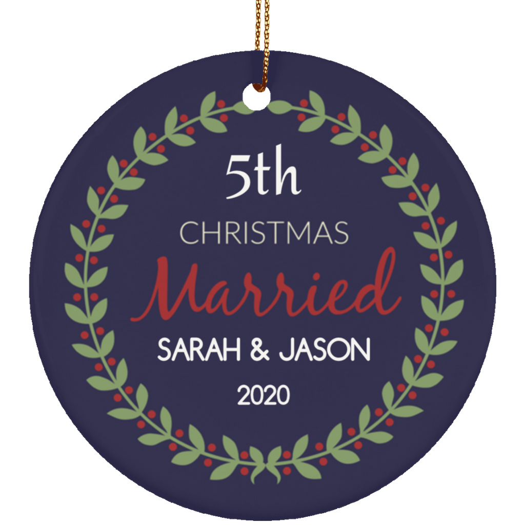 Custom Anniversary Ceramic Navy Christmas Ornament