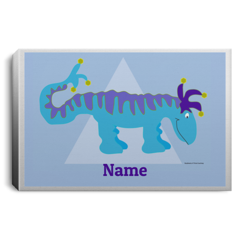 Kids Room Name Canvas Sign with Dinosaur Custom Wall Art - Personalized