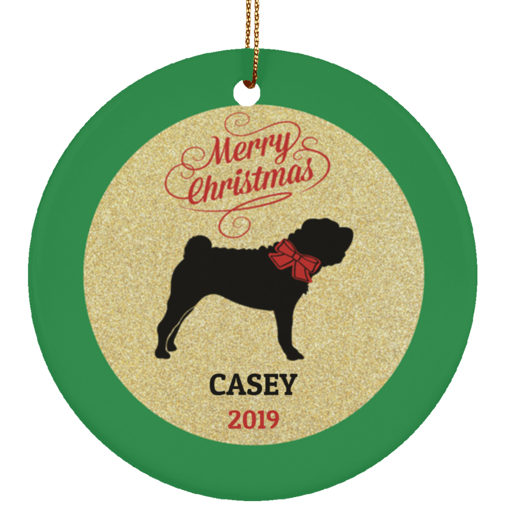 Ceramic Shar Pei Dog Personalized Ornament