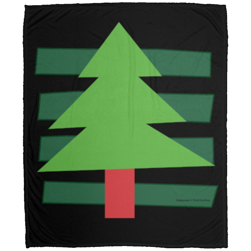 Blanket Throw of Velveteen Micro Fleece with Christmas Tree