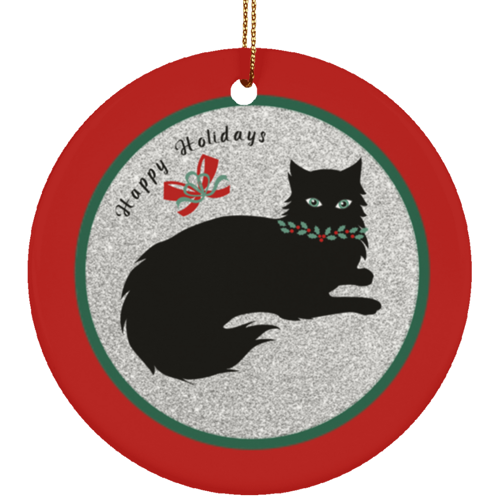 Red Christmas Cat Lover Ornament
