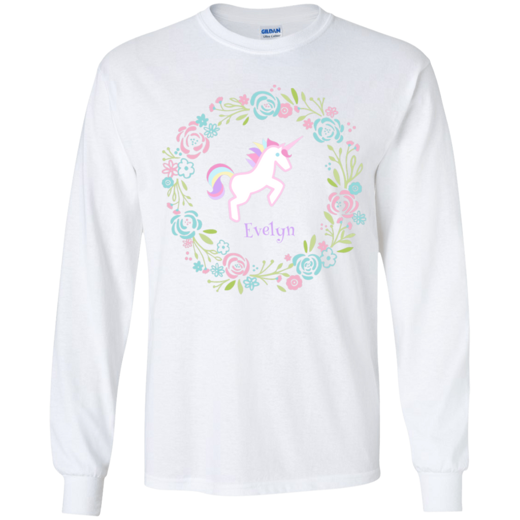 Unicorn Long Sleeve T-Shirt Personalized Unicorn Gift for Girls