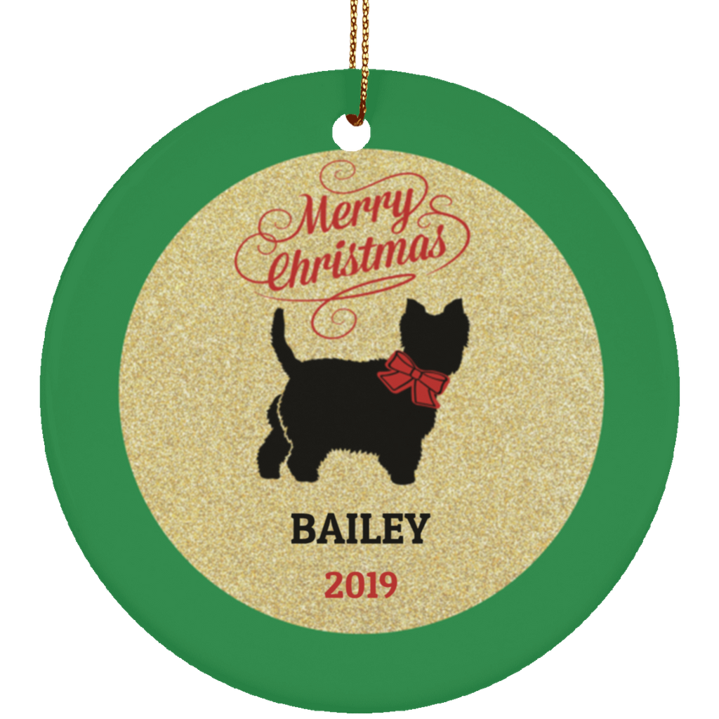 Ceramic Westie Dog Christmas Personalized Ornament