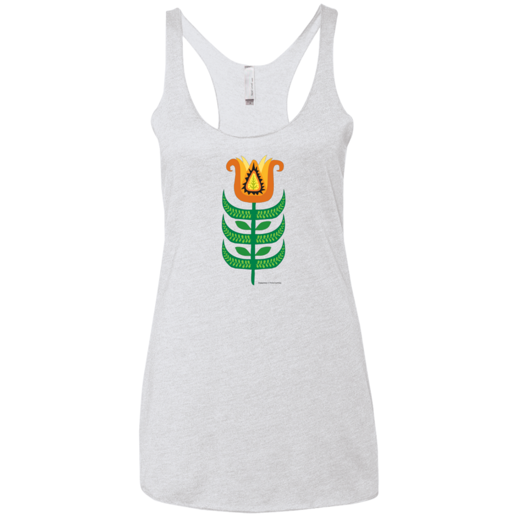 Ladies Racerback Tank with Tulip in Blue White Black