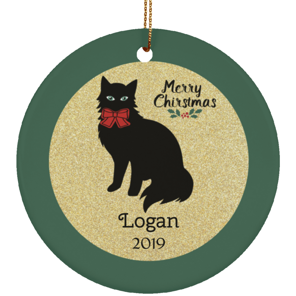 Black Cat Custom Christmas Ornament Cat Lover Personalized Name and Date