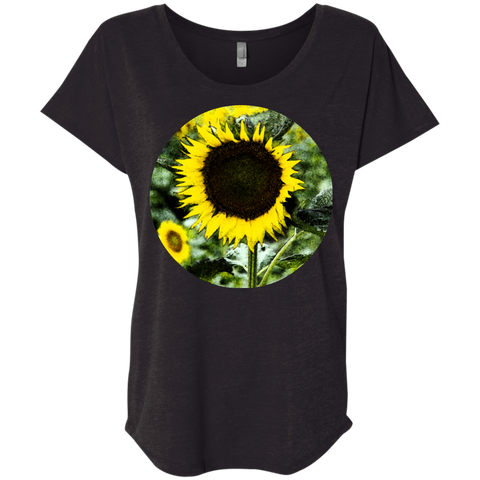 Ladies Short Seeve Black T-Shirt w/ Sunflowers