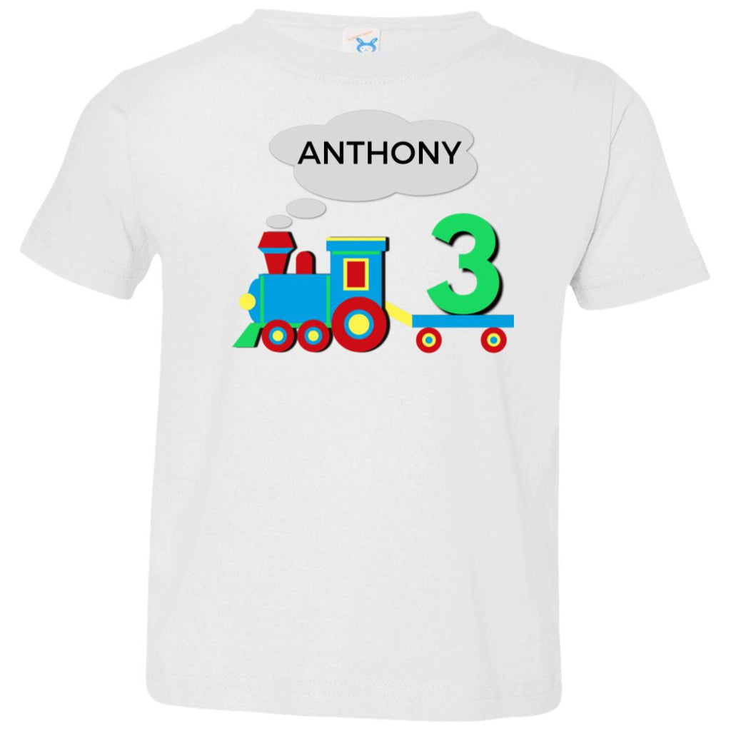 Personalized Toddler Birthday T-Shirt for 3 Year Old Third Birthday Shirt with Train