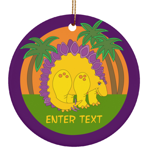 Christmas Baby Dinosaur Circle Ornament - Personalized