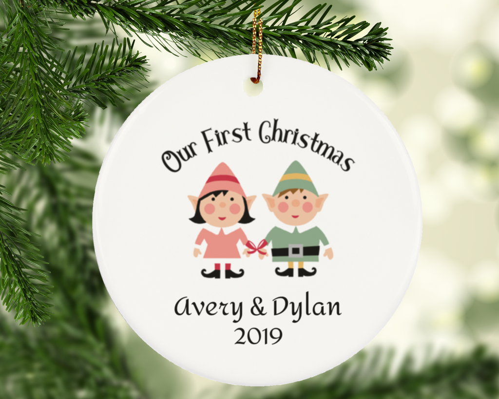 Our First Christmas Personalized Elf Couple Ornament Gift