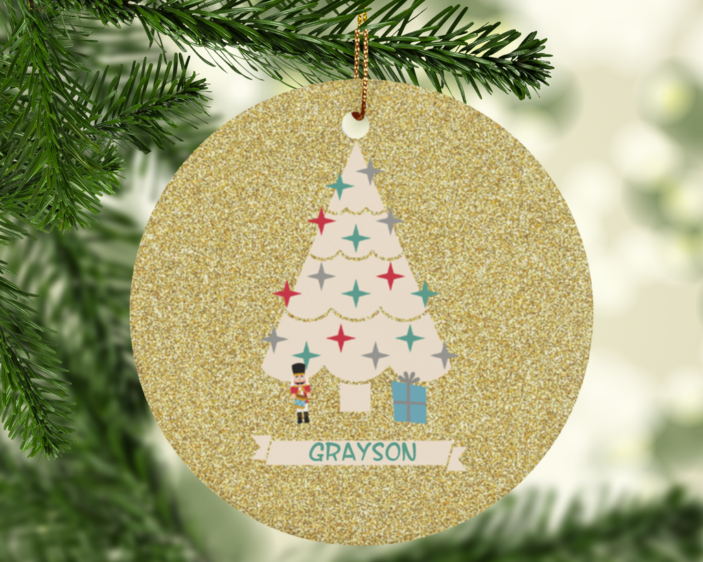 Personalized Christmas Custom Holiday Ornament with Boys Baby Name in Gold