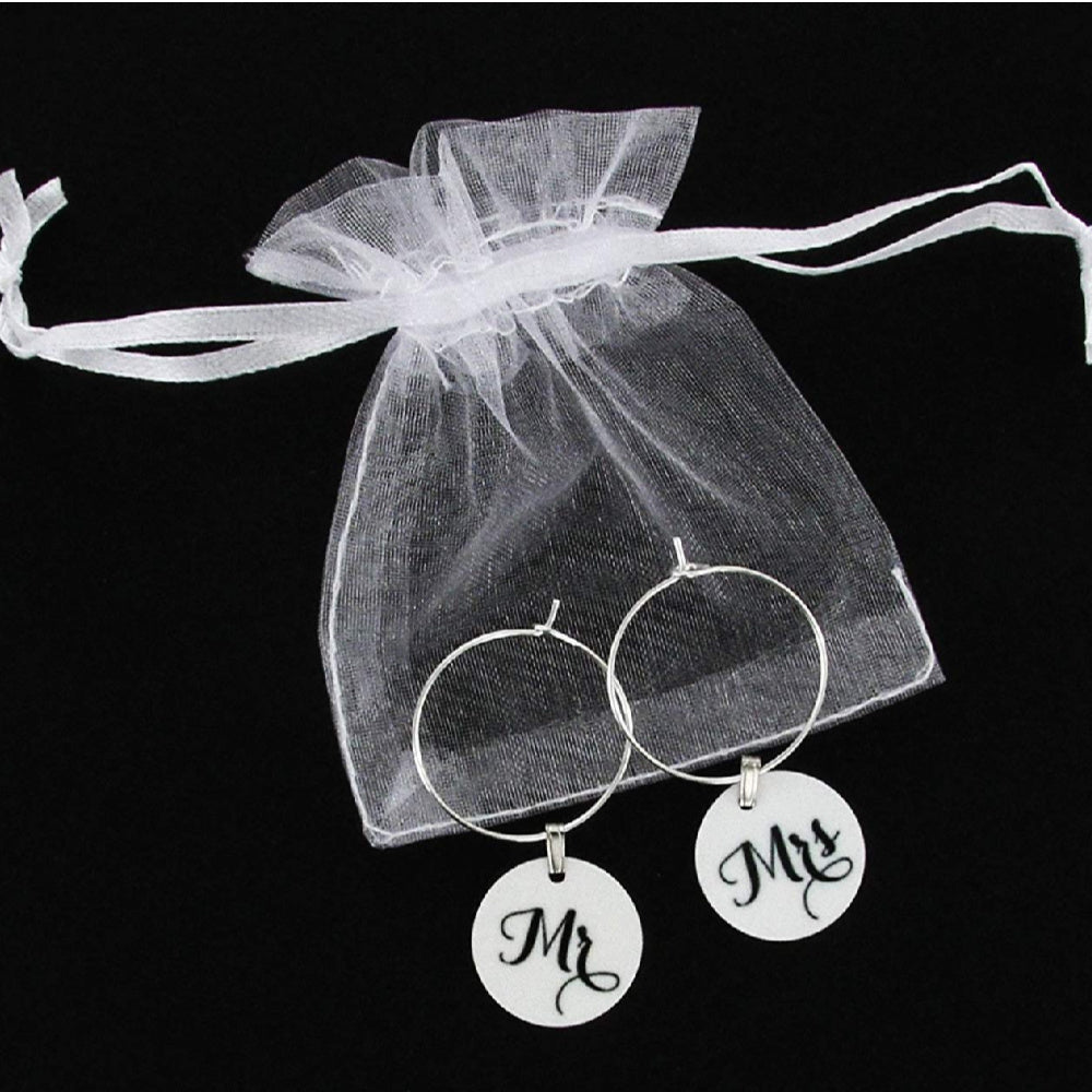 Wedding Wine Glass Charms Mr. and Mrs. Set