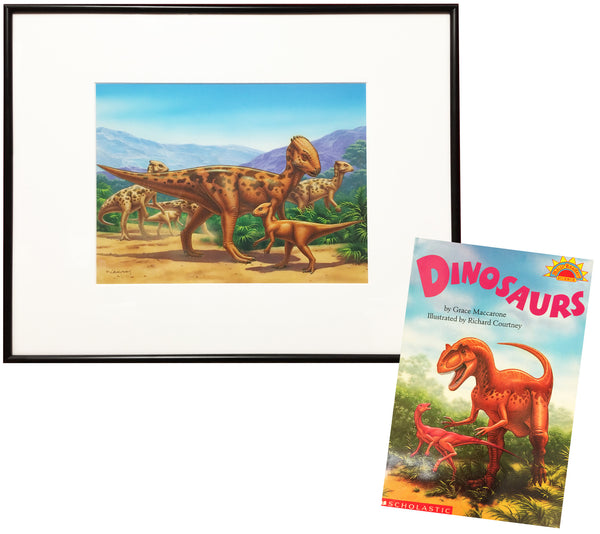 Dinosaurs Original Framed Painting & Paperback Book