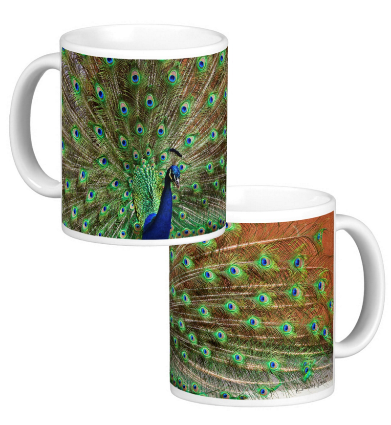 Peacock Photo Coffee Mug Set of 2 - 11 oz Ceramic Cups