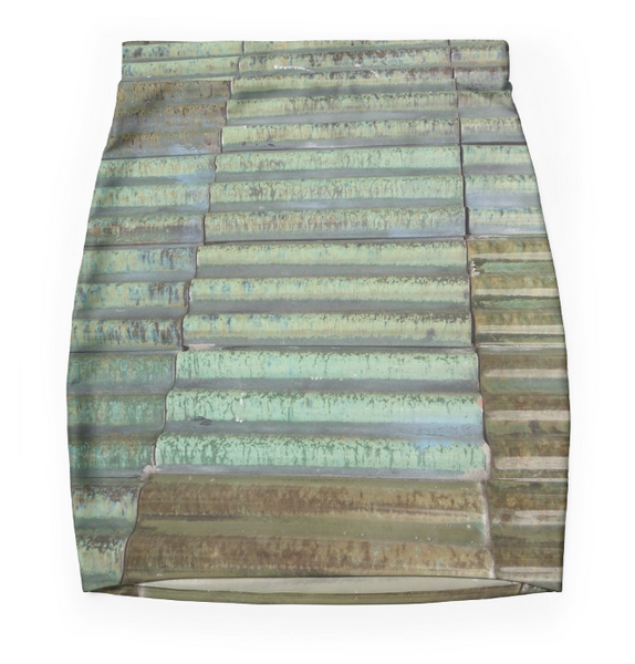 Mini Skirt in Brown Aqua Green in Stretch Fabric.