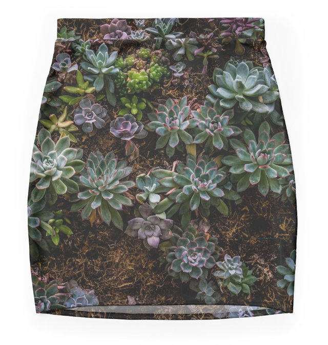 Mini Skirt in Blue Lavender Green in Stretch Fabric.