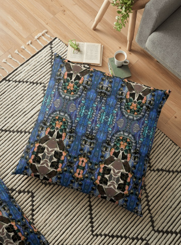Throw Pillow & Floor Pillow Covers in Blue for Couch Bed Floor for Living Room Bedroom or Family room