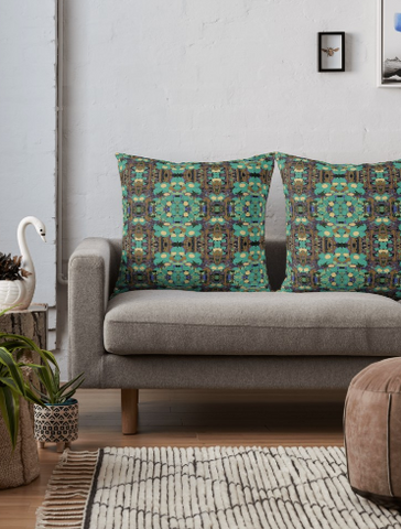 Throw Pillow \u0026 Floor Pillow Covers in Brown \u0026 Turquoise for Couch Bed Floor for Living & Home Decor \u2013 Creative Living Today