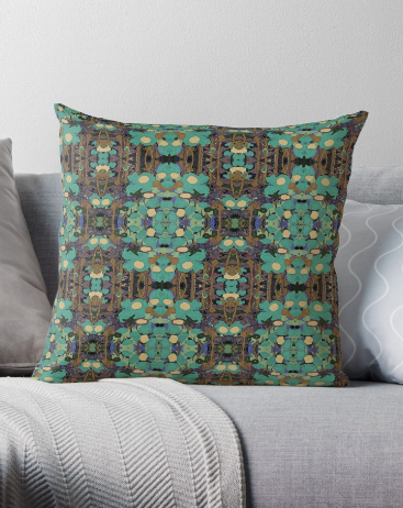 Throw Pillow & Floor Pillow in Brown & Turquoise for Couch Bed Floor for Living Room Bedroom or Family Room