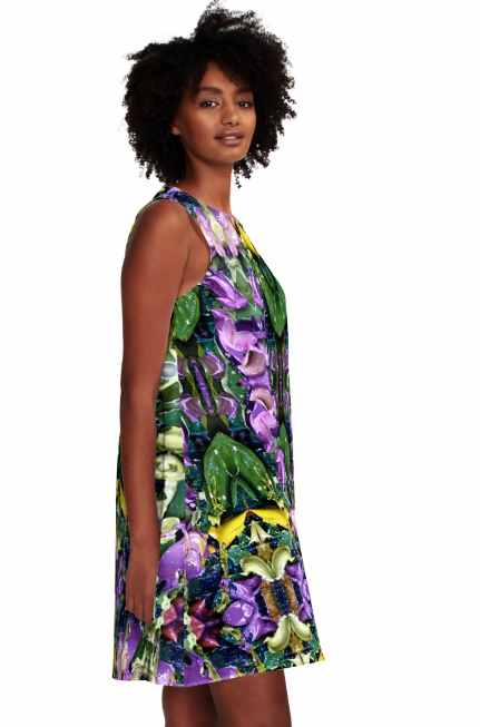 Dress for Summer Work Casual Wedding Guest in a Purple Green Print Design Pattern Made in the USA