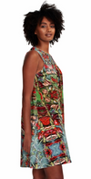 Dress for Summer Work Casual Wedding Guest in a Red Grey Print Design Pattern Made in the USA